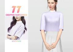 "waekey:  "" TT Cropped Turtleneck  • New mesh / EA mesh edit  • Category: top (women)  • Age: teen / young adult / adult / elder  • 5 swatches  Download: SimFileShare 