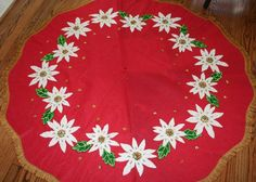 Vintage Christmas Tree Skirt ~ Red Felt with White Poinsettias, Trimmed in Gold Loop Fringe.