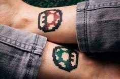 Super Mario tattoos. Marley!! Lets do it!!