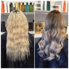 Vilken makeover! Vi gör en mjuk balayage som går i silvriga toner från ett helblont hår ✨ #makeover #silverhair #olaplexsweden #kerastase #fusiodose