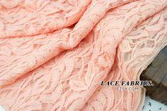 PEACH Cotton Lace Fabric by the Yard Wedding Bridal Craft Lace Material Cotton PEACH Lace Fabrics - 1 Yard Style 231