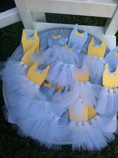 "Photo 7 of 34: Yellow & Grey / Gender Reveal ""Ties or Tutus?"" 