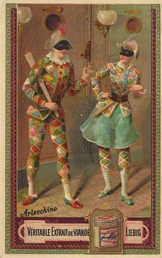 l0064_03 by janwillemsen, via Flickr--- I chose this because it seems like an advertisement of some sorts but it depicts a male and female arlecchino who of course are wearing bright multicolored tights with patches.