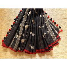 Black and Gold Jamdani Linen Saree