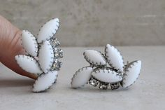 Milk Glass Earrings Prong Set Dogtooth Marquise with Clear Rhinestones Clip On Vintage Grey Pearl Earrings, Gold Drop Earrings, Feather Earrings, Glass Earrings, Teardrop Earrings, Vintage Earrings, Clip On Earrings, Dangle Earrings, Vintage Jewelry