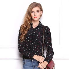 Anchors Print Women's Chiffon Blouses Long Sleeve Turn-Down Collar Sheer Shirts