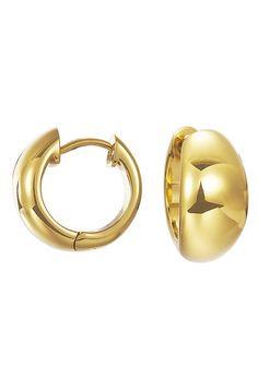 """Esprit, Paar Klappcreolen, """"ES-organic gold, ESCO11903B000"""".  Das unwiderstehlich klassische Design und die edle Ausstrahlung zeichnen diese Schmuckstücke aus glänzendem, goldfarben ionenplattierten Edelstahl aus. Die Creolen sind mit einem Durchmesser von ca. 16 mm und einer Breite von ca. 6 - 8 mm immer ein passender Begleiter.  Lieferung in einer Esprit-Verpackung...."""