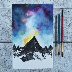 Watercolor Mountain & Sky by JessWeymouth on Etsy