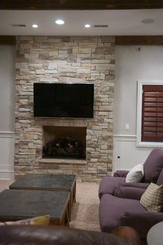 Dry Stacked Stone Fireplace Design Ideas, Pictures, Remodel and Decor