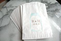 Mason jar favor bags, 100.  Blue Mason jar with custom initials.  Wedding, engagement, bridal shower.. $90.00, via Etsy.