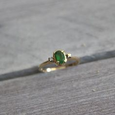 14k Yellow Gold Diamond And Emerald Ring 2g at relikit.com