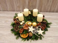 Adventskranz Adventskränze gold Weihnachtsdeko | Etsy Diy Christmas Room, Christmas Advent Wreath, Handmade Christmas Decorations, Christmas Candles, Christmas Centerpieces, Rustic Christmas, Xmas Decorations, Christmas Themes, Christmas Crafts