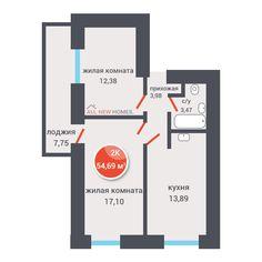 Микрорайон «Дивногорский» в Новосибирске - 2-комнатная квартира 54,69 кв.м. - divno-022 - +7 (383) 263-02-36
