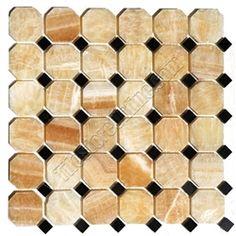 honey onyx mosaic tile.black marble dot