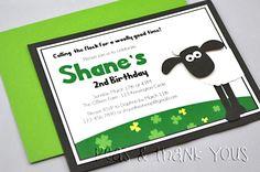 Shaun the Sheep Handmade Birthday Party Invitation for Boys-shaun sheep boys green black