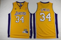 Los Angeles Lakers #34 Adidas Swingman Shaquille O'Neal Throwback Gold NBA Jersey