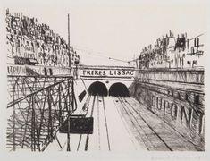 Kamil Lhoták: Pařížský motiv 1373 – Freres Lissac, 1948 Brooklyn Bridge, Louvre, Building, Travel, Viajes, Buildings, Destinations, Traveling, Trips