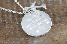 Engraved Personalized Airplane Necklace by ShinyLittleBlessings