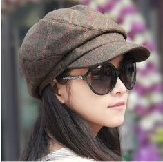 casual plaid newsboy cap for women warm wool hat winter wear