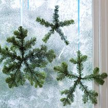 Winter diy decor - snowflakes made out of fir branches.