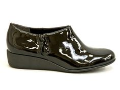 COLE HAAN - Callie Rain patent wedge booty in black $179 Contact BLU'S at shop@blus.com to order