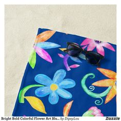 Shop Bright Bold Colorful Flower Art Blue Personalised Beach Towel created by DipsyLou.