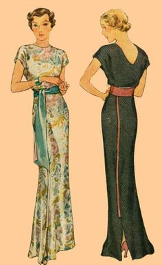 1930s evening wear. Would be tempted to drop the back V by a couple of inches.