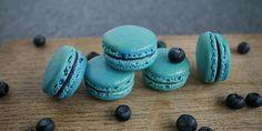 Små og lækre blå macarons fyldt med blåbær og hvid chokolade