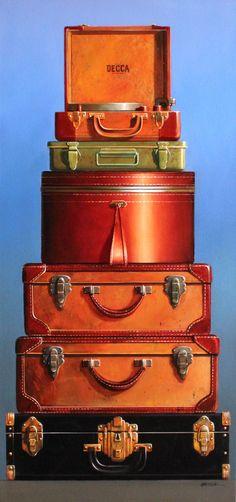 by Wendy Chidester Art Vintage Suitcases, Vintage Luggage, Vintage Travel, Art Painting Gallery, Painting Art, Art Paintings, Orange Color Schemes, Suitcase Storage, Orange Aesthetic