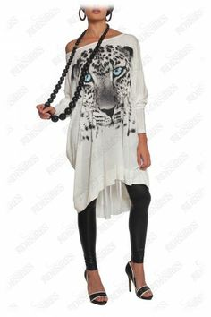 #animal #print #urban #tunic  This off-white snow leopard print tunic has magnetic charm. Generously cut with pleated tulle yoke at back, it drapes your figure and makes a comfortable lightweight wear.