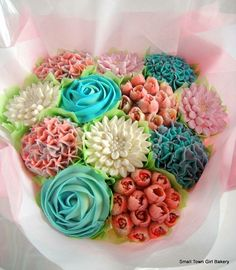 Beautiful Cupcake bouquets and Celebration cakes. Cookie Bouquet, Cupcake Bouquets, Cake Cookies, Cupcake Cakes, Cupcakes Delivered, Beautiful Cupcakes, Small Town Girl, Pink Bouquet, Vanilla Cupcakes