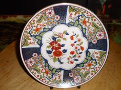 FLORAL & GOLD GILDED oriental Chinese CABINET decorative PLATE