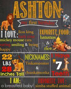 Lion King First Birthday Chalkboard First Birthday Poster by ChalkTalkDesigns on Etsy https://www.etsy.com/listing/220220203/lion-king-first-birthday-chalkboard
