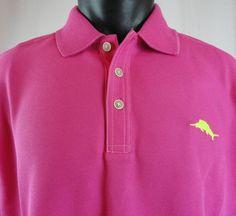 NWT Tommy Bahama Mens L Emfielder Polo Shirt Bright Pink Spring Cherry SS Pima #TommyBahama #Polo