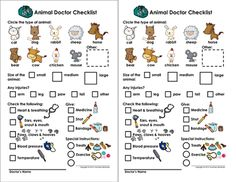 My Animal Doctor Checklist - Play/Pretend (Veterinarian/Doctor) from Courtney McKerley on TeachersNotebook.com (1 page)  - My Animal Doctor Checklist is a great way for your student or child to play pretend doctor and care for their beloved stuffed animals. This form has colorful graphics, but is also very organized and has simple instructions which will be easy for your chil