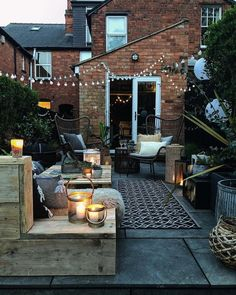 Small Rustic Terrace Garden Design Ideas with Low Budget to Improve Your H. - Small Rustic Terrace Garden Design Ideas with Low Budget to Improve Your Home - Outside Living, Outdoor Living, Outdoor Decor, Indoor Outdoor, Small Outdoor Patios, Outdoor Hanging Lights, Outside Patio, Terrace Garden Design, Balcony Garden