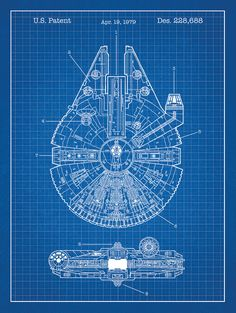 Millenium Falcon Star Wars Patent 18x24 screen by InkedandScreened