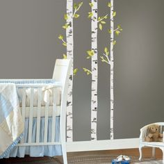 This would look great in a nursery (or even an office!) Birch Trees Giant Wall Decals from RoomMates Decor. Peel, stick and cut to customize. So easy to DIY!