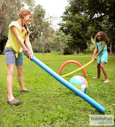 Pool Noodle Hockey: Give a winter game a silly, summery twist by replacing the usual pucks and sticks with swimming toys. Place goals at each end of a rectangular play