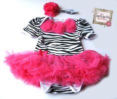 Black and white Baby Zebra Onesie and headband Set, ,Girl romper hot pink tutu skirt. $29.99, via Etsy.