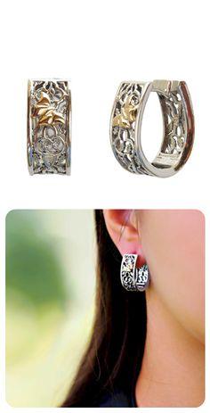 Earrings  ||  Sterling Silver + 14k Gold Butterfly  ||