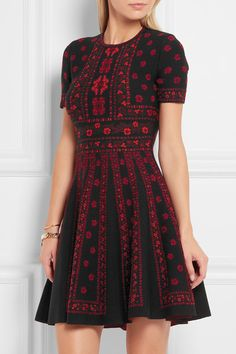 Alexander McQueen | Jacquard-knit mini dress | NET-A-PORTER.COM