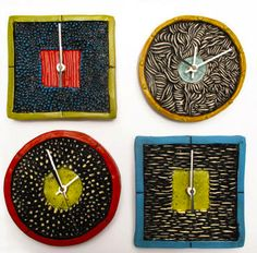 Texture Clocks by Ed & Kate Coleman #ceramics
