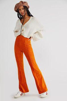 Slim Pull-On Velvet Flare Pants | Free People Short Skirts, Mini Skirts, Velvet Flare Pants, Hawaiian Sunset, Free People Store, Long Jackets, Stripes Design, Leg Pulling, Pants For Women