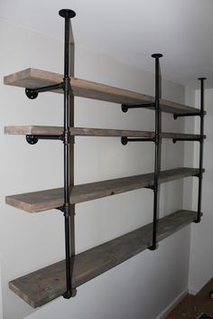 How To: Industrial Rustic Shelf Tutorial -- modify to span across our fireplace for a unique industrial mantle that continues as bookshelves on either side.