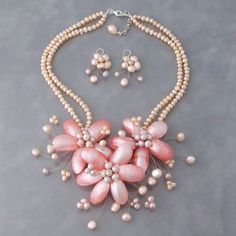 You'll love this Pink Shell and Pearl Necklace and Earing set
