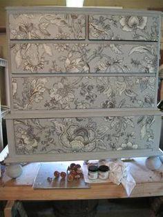 Decoupage Fabric on a dresser finished with Paris Grey Chalk Paint® decorative paint by Annie Sloan | Via Garden Web by jbi