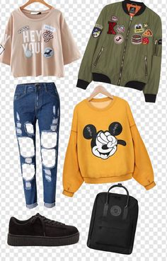 Cute Outfits For Teenage Girl 2018 Casual Outfits For Teens School, Teen Fashion Outfits, 90s Fashion, Stylish Outfits, Korean Fashion, Girl Fashion, Womens Fashion, School Looks, Outfits With Converse