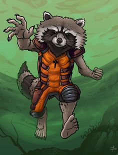 how to draw rocket raccoon, guardians of the galaxy