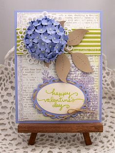 ♥♥♥  The gorgeous hydrangea can be made with a half styrofoam ball and punched flowers  3D @ it's best!